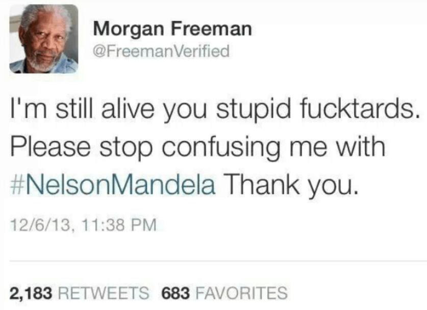 morgan freeman tweet nelson mandela